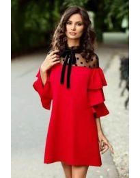Стилна рокля под коляното в червено - код 019