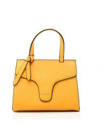 Дамска чанта в жълто изчистен модел с цип - NH2851