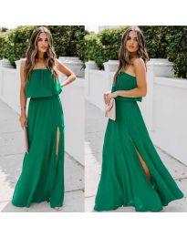 Дълга рокля с цепка в цвят зелено - код 061
