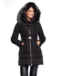 Дълго зимно дамско яке в черно с цип, колан  и качулка с пух - код 1093
