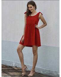 Изчистена рокля в червено - код 2255