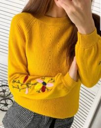 Дамска пуловер в цвят горчица - код 4907