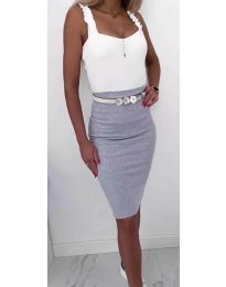 Стилна рокля в сив цвят - код 615