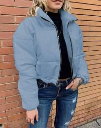 Дамско късо спортно яке с цип в синьо - код 4077