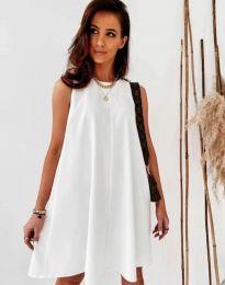 Свободна дамска рокля в бяло - код 9862