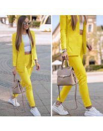 Спортно-елегантен дамски комплект в жълто - код 215