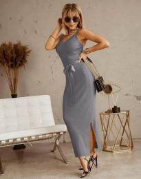 Дълга дамска рокля в сиво с панделка - код 6166