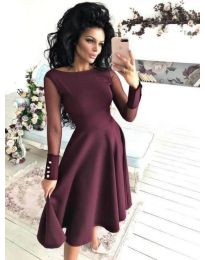 Стилна рокля с тюлен ръкав и разкроена долна част в бордо - код 718