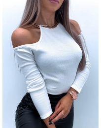 Дамска блуза с голи рамене в бяло - код 4191