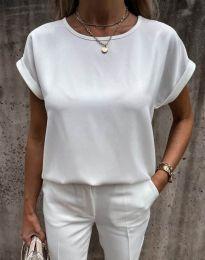 Изчистена дамска тениска в бяло - код 11802