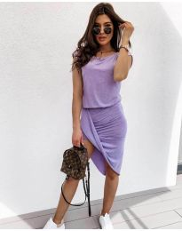 Дамска спортно-елегантна рокля в лилаво - код 138