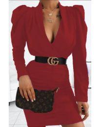 Стилна рокля в бордо - код 953