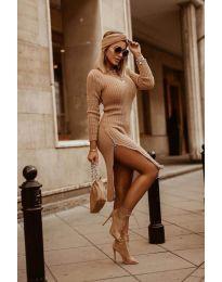 Дамска рокля в кафяво - код 6585