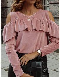 Дамска блуза в цвят пудра - код 4111