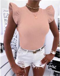 Тениска с ефектни ръкави в розово - код 531