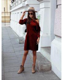 Дамска рокля в бордо - код 8171