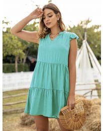Свободна дамска рокля в цвят тюркоаз - код 696