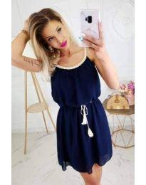 Лятна дамска рокля в тъмно син цвят - код 672