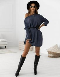 Дамска рокля в тъмносиньо - код 6940