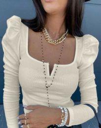 Изчистена дамска блуза в цвят шампанско - код 12115