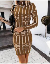 Дамска рокля с ефектен десен в медно кафяво - код 0258