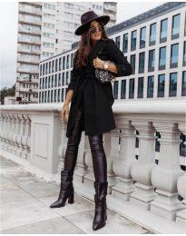Дамско палто с колан в  черно - код 3839