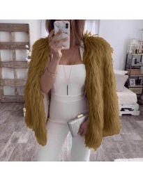 Дамско късо палто в кафяво - код 4767
