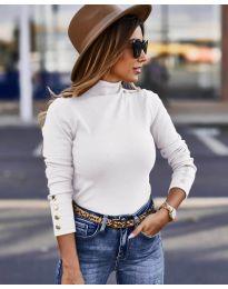 Дамска блуза с поло яка в бяло - код 5259