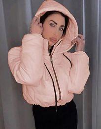 Късо дамско спортно яке с качулка в розово - код 6657