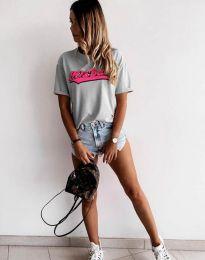 Дамска тениска с принт в сиво - код 6369