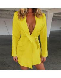 Вталено дамско сако в жълт цвят - код 319