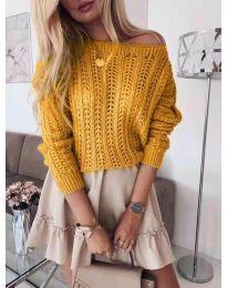 Плетена дамска блуза в цвят горчица - код 917