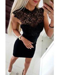 Елегантна черна рокля с бродерии - код 2546