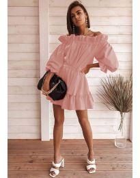 Свободна дамска рокля в цвят пудра- код 3386