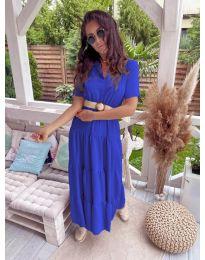 Дълга ефирна рокля в синьо - код 641