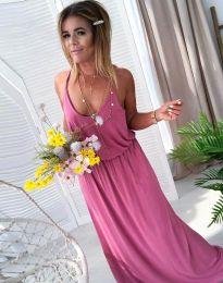 Дълга дамска рокля в цвят пудра - код 11993