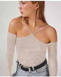 Дамска блуза в бежово - код 8063