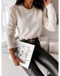 Атрактивна дамска блуза в бяло - код 4841