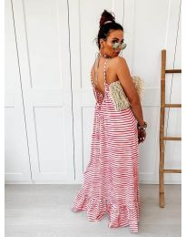 Дълга рокля с червено райе - код 0560