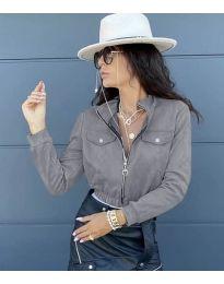 Дамско късо яке в сиво - код 7070