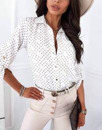 Атрактивна дамска риза в бяло - код 3223 - 5