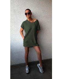 Свободна рокля в маслено зелено - 3080