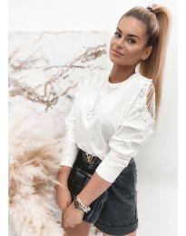 Дамска елегантна блуза в бяло - код 4216