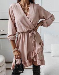 Стилна дамска рокля в цвят пудра - код 5371