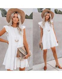 Бяла свободна рокля с къси набрани ръкави - код 538