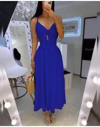 Дълга дамска рокля в тъмно синьо - код 2239