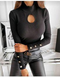 Дамска блуза с поло яка в черно - код  9917