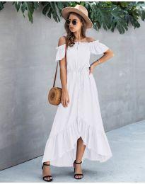 Свободна дълга рокля в бяло - код 564