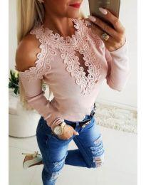 Елегантна дамска блуза с бродерии в цвят пудра - код 3538