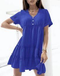Свободна къса рокля в синьо - код 7205